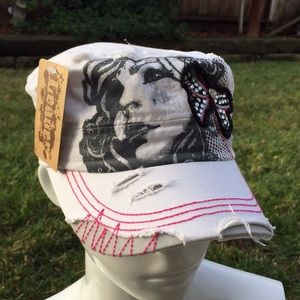 Beautiful girl bow rhinestones distressed hat